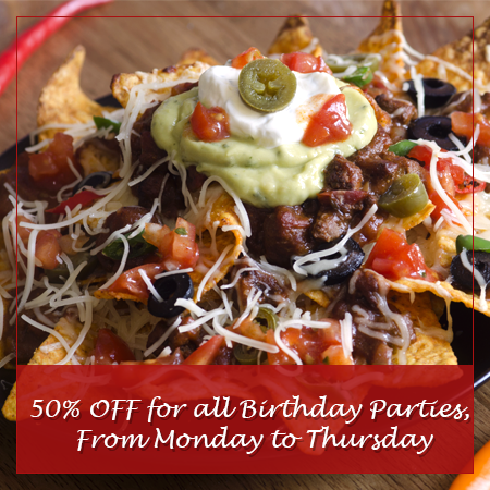 50 % off on Birthday Parties, From Monday to Thursday